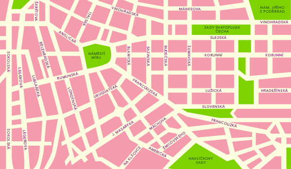 Map of an area surrounding the apartments